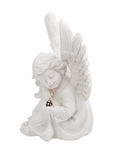 Little angel with emerald in the hands of Royalty Free Stock Photography