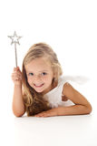 Little angel fairy with magic wand royalty free stock photography