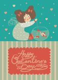 Little angel are fishing. Vector romantic greeting card Stock Photography