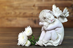 Little angel and flowers Stock Photo