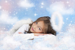 Little Angel girl on a cloud Royalty Free Stock Photography