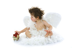 Little angel and house Royalty Free Stock Images