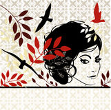 Graphic womans face. Graphic womans face with foliage, birds and background pattern Royalty Free Stock Photos