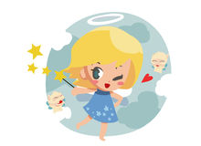 little angel with little elf - vector Stock Photography