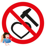 Little angel near the road heart sign with hammer Royalty Free Stock Images