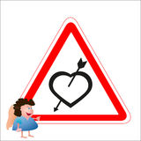 Little angel near the road heart sign with loving Stock Photo