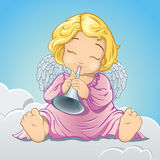 Little angel playing trumpet Royalty Free Stock Image
