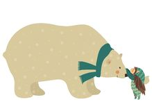 Little angel and polar bear Royalty Free Stock Photo