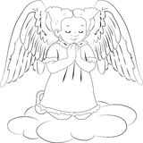 Little angel. A little angel praying for god in white and black background Royalty Free Stock Image