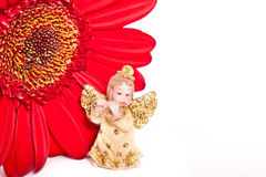 Little angel and red flower Royalty Free Stock Images