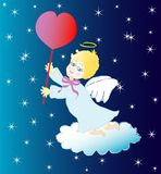 Little angel with red heart Stock Image