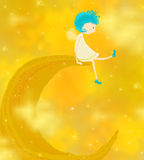 Little angel sitting on the moon Royalty Free Stock Photos