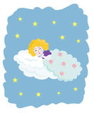 Little angel sleeping. A little angel sleeping in the sky under the clouds Stock Image