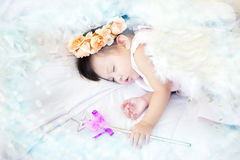 Little Angel is sleeping on the couch white Stock Photos