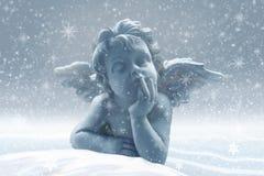 Little angel in the snow. Winter illustration: Little angel in the snow Stock Images