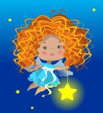 Little angel and star Royalty Free Stock Photography
