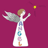 Little angel with a star Royalty Free Stock Images