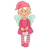 A little angel. Vector illustration. Isolated object on a white background. Drawn by hand Royalty Free Stock Photos