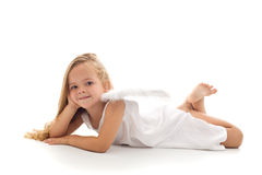 Little angel in white dress Stock Photo