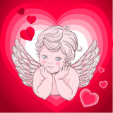 Little angel with wings, cupid  heart Stock Image