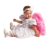 Little angelic girl in white, isolated Royalty Free Stock Photos