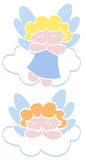 Little Angels. Two little angels floating over clouds Stock Photo