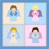 Little angels. Four beautiful little angels on a patchwork background - illustration vector illustration