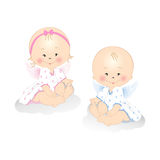 Little Angels. Smiling little angels boy and girl isolated on white background stock illustration