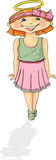 Little Angle. Little Angel, Childhood fun, dance, play, summer fun, girl, costume Vector Illustration