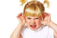 Little angry girl Stock Photo