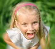 Little angry girl screaming. Stock Photo