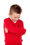Little angry kid with red jersey Stock Photo