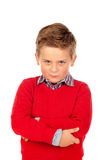Little angry kid with red jersey Royalty Free Stock Photography