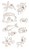 Little animals. Drawing set- insects, fish stock illustration