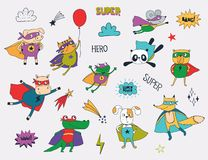 Little animals in superhero costumes stock illustration
