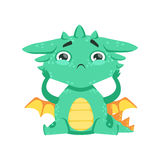 Little Anime Style Baby Dragon Feeling Lonely Cartoon Character Emoji Illustration. Vector Childish Emoticon Drawing With Fantasy Dragon-like Cute Creature Royalty Free Stock Images