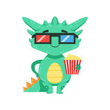 Little Anime Style Baby Dragon In Movie Theatre In 3D Glasses Cartoon Character Emoji Illustration Stock Images