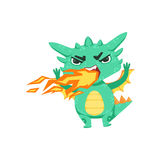 Little Anime Style Baby Dragon Pissed Off Breathing Fire Cartoon Character Emoji Illustration. Vector Childish Emoticon Drawing With Fantasy Dragon-like Cute Royalty Free Stock Images