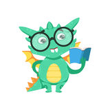 Little Anime Style Smart Bookworm Baby Dragon Reading A Book Cartoon Character Emoji Illustration. Vector Childish Emoticon Drawing With Fantasy Dragon-like Royalty Free Stock Photo