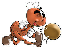A little ant. A ant player with a ball stock illustration