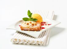Little apricot pie with ice cream Royalty Free Stock Photo