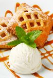 Little apricot pies with ice cream Stock Photography