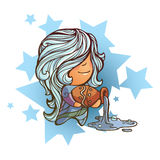 Little Aquarius. Vector illustration of aquarius zodiac sign Stock Photos