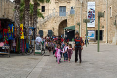 Little arabic girls going to school Stock Photos