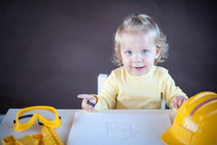 Little Architect. Cute little girl as an Architect Stock Images