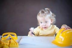 Little Architect. Cute little girl as an Architect Stock Photos