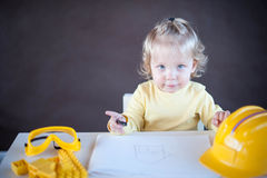 Little Architect. Cute little girl as an Architect Royalty Free Stock Photo