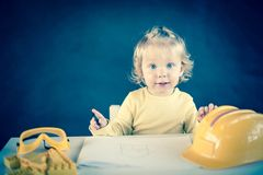 Little Architect. Cute little girl as an Architect Stock Image