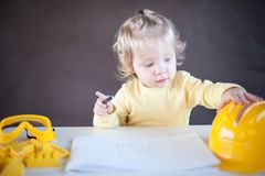 Little Architect. Cute little girl as an Architect Royalty Free Stock Photography