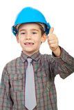 Little architect giving thumbs up stock image